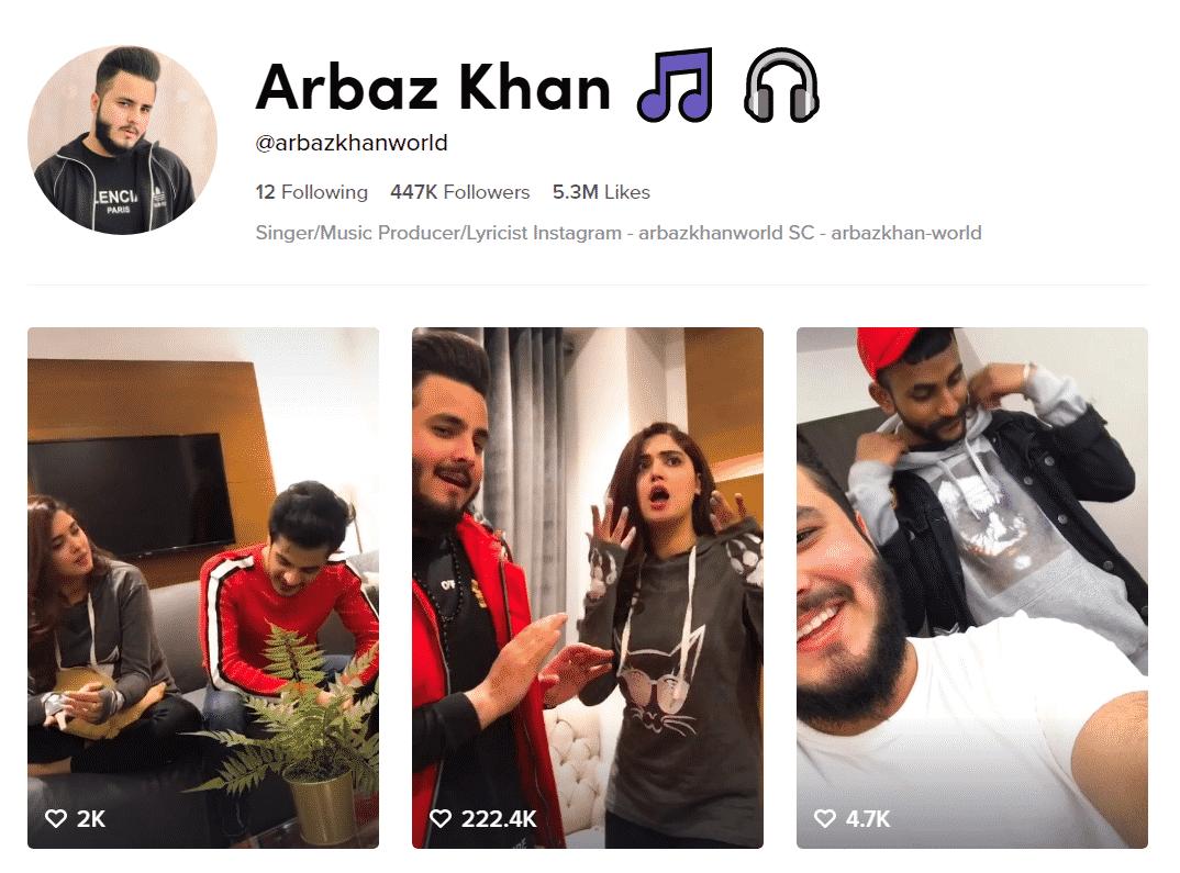 Arbaz Khan Official TikTok Profille