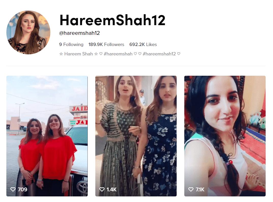 Hareem Shah Official TikTok Profille