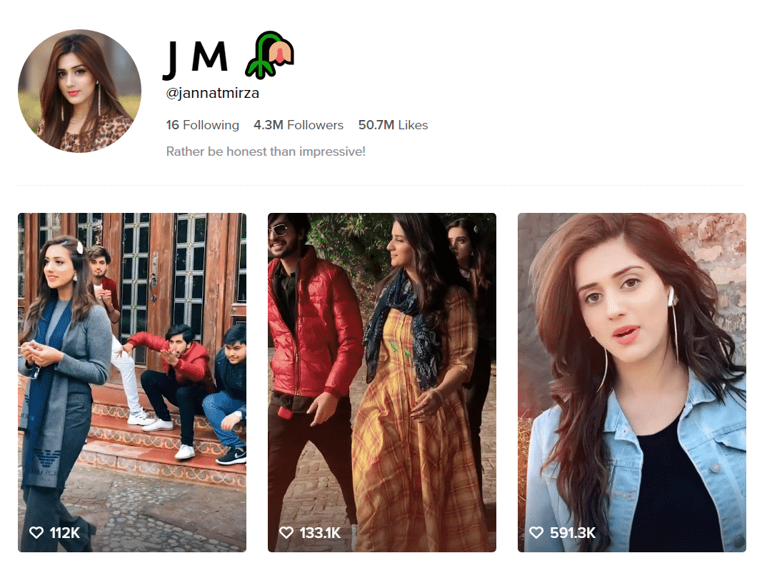 Jannat Mirza Official TikTok Profille