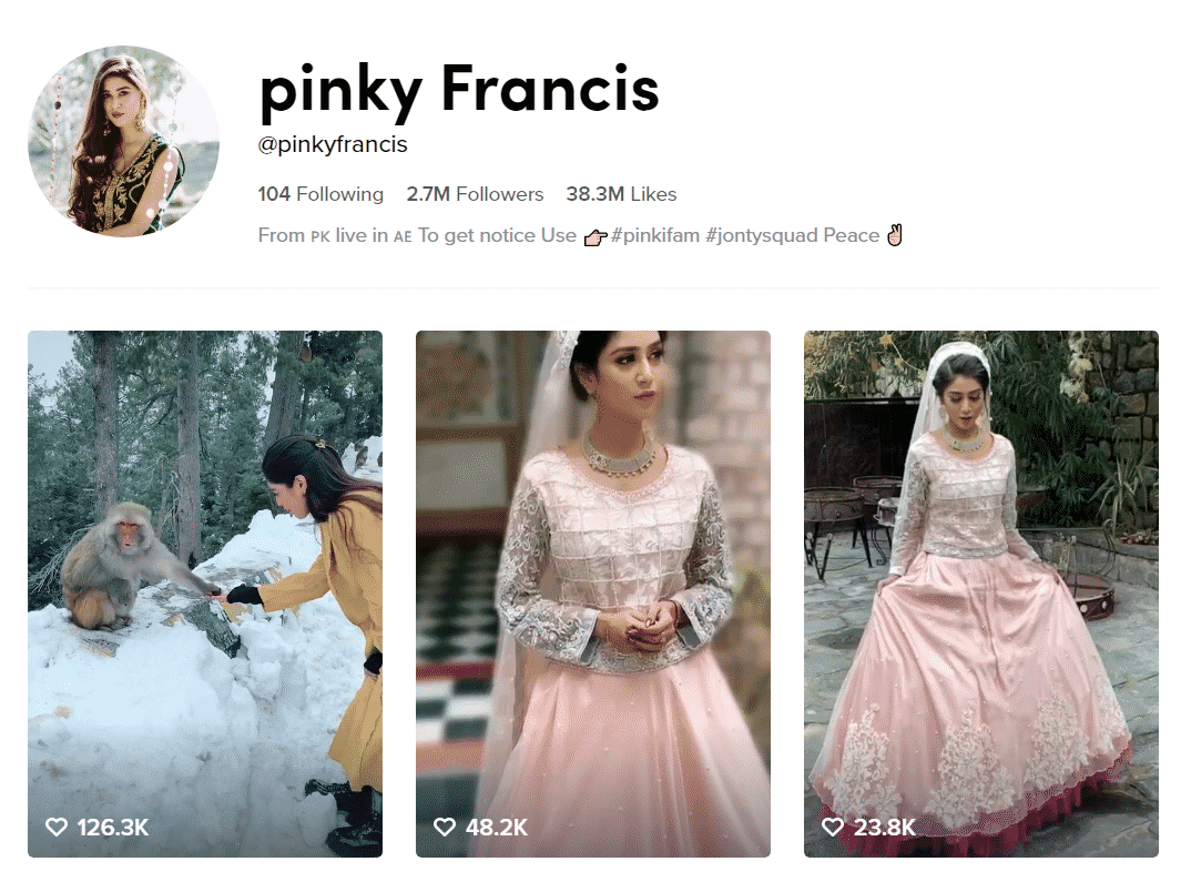 Pinky Francis Official TikTok Profille