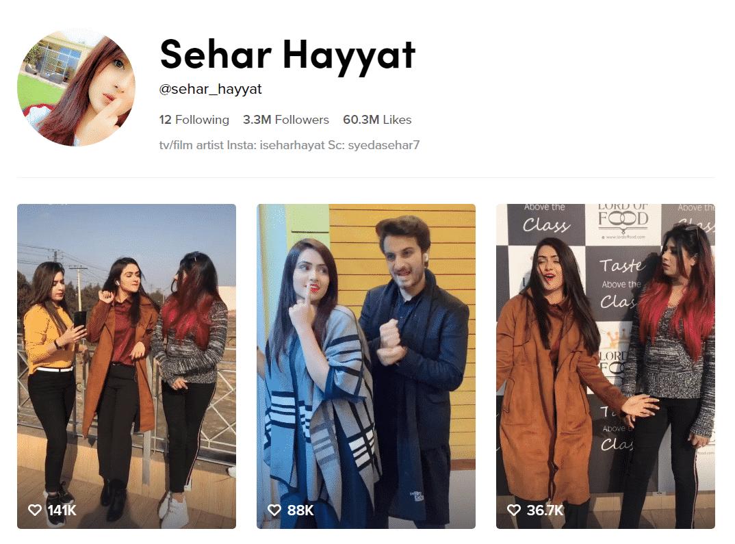 Sehar Hayyat Official TikTok Profille